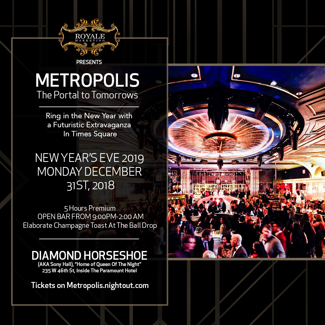 New Year's Eve 2019 in Times Square's Diamond Horseshoe at Paramount Hotel
