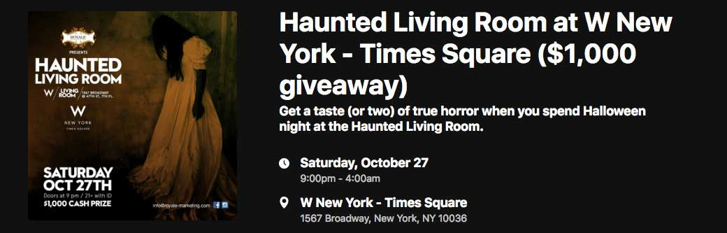 Haunted Living Room @ W Hotel Times Square Banner