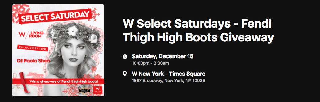Select Saturdays @ W Hotel Times Square